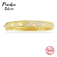Fashion Charm Sterling Silver Copy 1:1 Copy,Yellow Silver Intricate Design Paved Bangle Women Luxury Jewelry Gift
