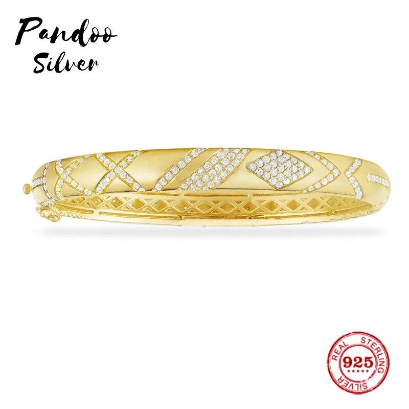 Mode charme en argent Sterling copie 1:1 copie, argent jaune conception complexe pavé bracelet femmes bijoux de luxe cadeau