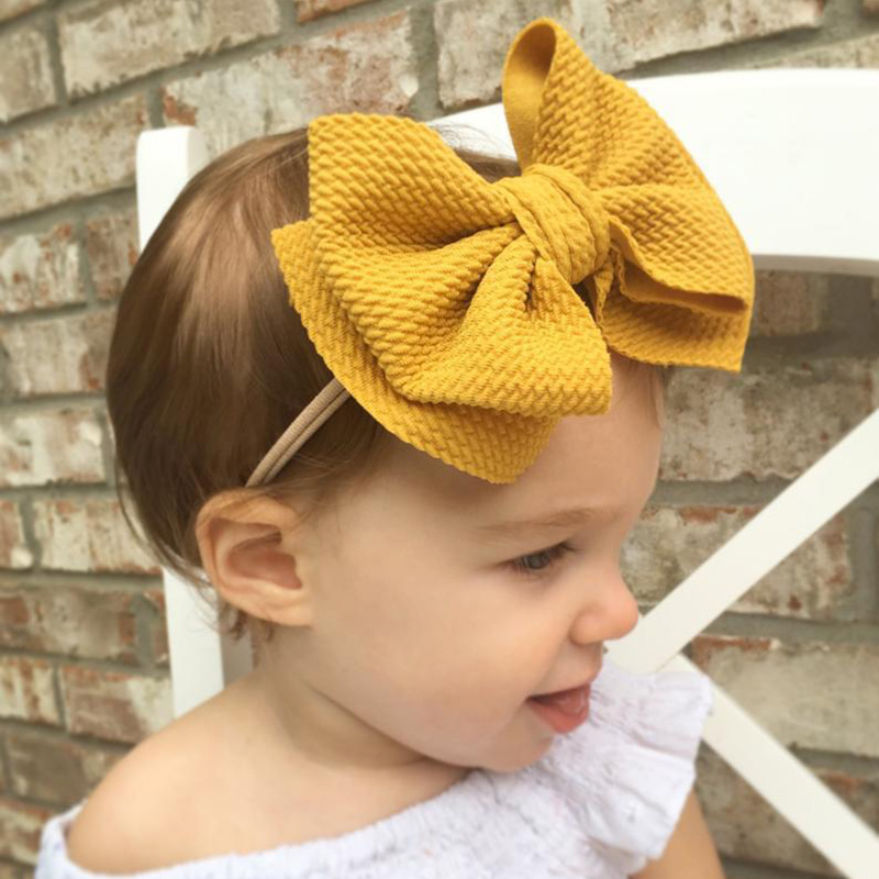 16 Colors Bow Nylon Headbands Baby Girls Hairbands Big Bow Soft Elastic Hair Bands Headwear Lovely Hair Accessories Wholesale