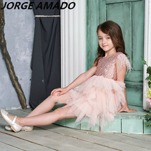Feather Sequins Girls Dress Tiered Fluffy Tulle Party Kids Princess Dresses for Girls Baby Clothes 2 10Y E13846