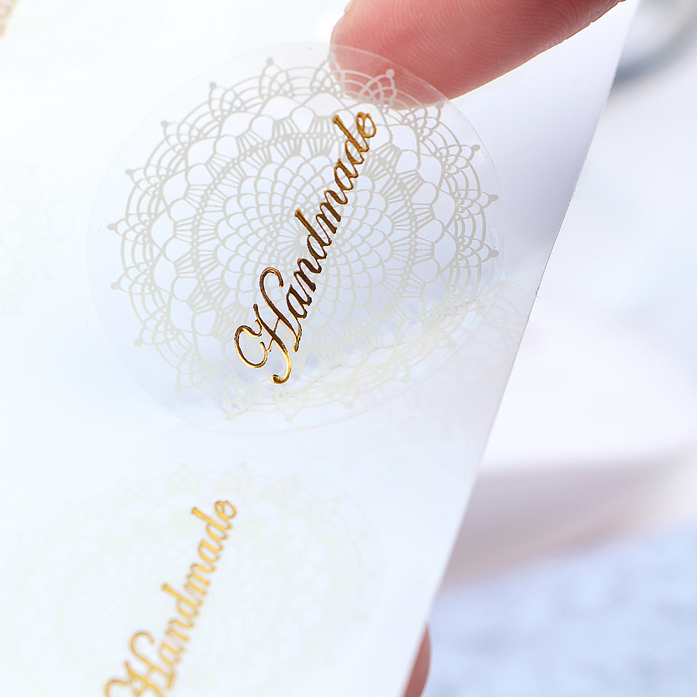 80Pcs/lot High Quality Sticker Label Transparent White Lace Seals Stickers PVC Hand Made Gift Sticke