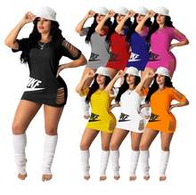 Black Dress Women Summer Half Sleeve O-neck Hole Letter Print Fashion Plus Size Dress Evening Party Sexy Dress Female Mini