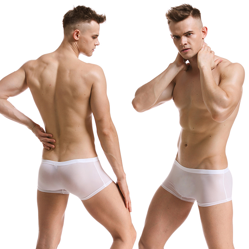 Soft Sexy Super Thin Mens Underwear Ice Silk Boxers Shorts Transparent Low-rise Trunks Breathable Men Cueca Homme Panties