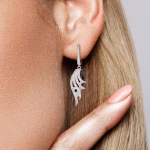 Image 5 - SANTUZZA כסף נוצת Drop עגילים לנשים 925 סטרלינג עגילי כסף שחור לבן נוצת תכשיטים