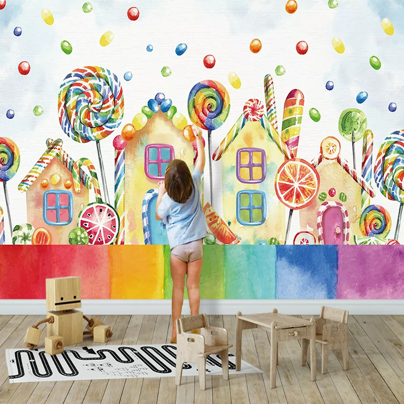 Photo Wallpaper 3D Cartoon House Lollipop Children's Room Background Wall Murals Eco-Friendly Home Decor Wallpaper For Walls 3 D