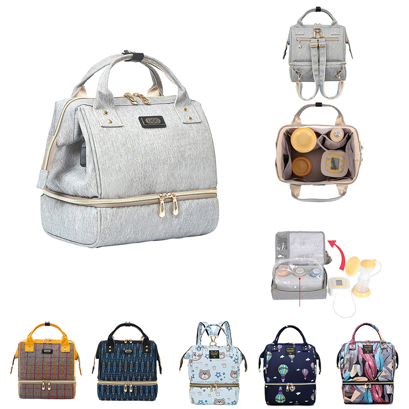 Diaper Bag Mummy Maternity Baby Bag Small Travel Grey Baby Nappy Changing Backpack Women Insulated Lunch Bag Stroller Organizer