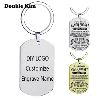 Engrave Men Custom Dog Tag Keychain Stainless Steel Pendants Military Army ID Tag Keychain Jewelry Classic Key Chain Gift custom dog tag photo keychain stainless steel engraved photograph text diy key chain for love dog keepsake