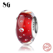 SG silver 925 sparkling Murano glass beads with Water drops fit authentic pandora charm bracelet jewelry accessory supply gifts