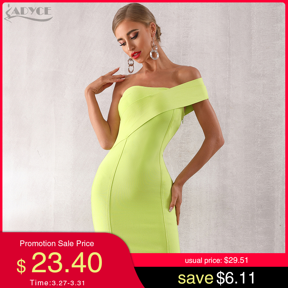 ADYCE 2020 New Summer One Shoulder Women Bandage Dress Sexy Sleeveless Bodycon Club Dress Vestidos Celebrity Evening Party Dress