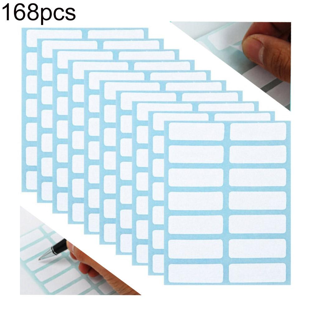 168Pcs  /Pack White Self Adhesive Stickers Name Label Stickers Student Stationery School Office Supply