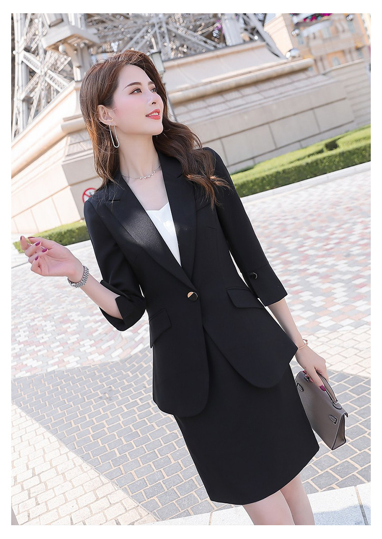 H424fbfee2170455b9b8dfcb58220cb5aq - Black Apricot Female Elegant Women's Suit Set Blazer and Trouser Pant Business Uniform Clothing Women Lady Tops and Blouses