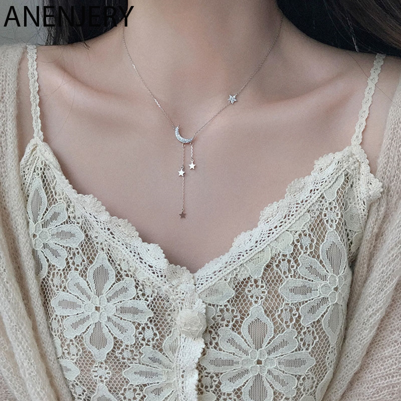 ANENJERY Sweet Silver Color Star Moon Tassel Necklaces For Women choker collares Wedding Jewelry S-N453