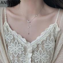 ANENJERY doux argent couleur étoile lune gland colliers pour femmes tour de cou collares bijoux de mariage S-N453