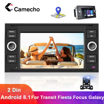 Camecho 2 din Android 8.1 Car Radio Multimedia Player For Ford Focus 2 3 mk2 Mondeo 4 Fusion Kuga Fiesta Transit Connect S-CMA image