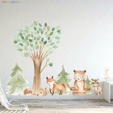 Grands autocollants muraux de forêt pour chambres d'enfants, papier peint de décoration, ours brun