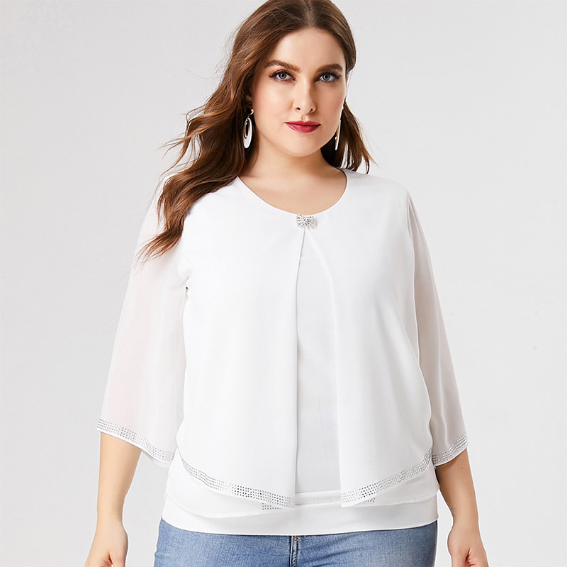 2020 Fall Women Long sleeve Chiffon Blouse T-shirt fashion ladies Retro elegant mom clothes Plus Size Womens Tops