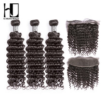 7A HJ WEAVE BEAUTY Peruvian Human Hair Bundles With Frontal Deep Wave Hair Weave Bundles Virgin Hair Free Shipping(China)