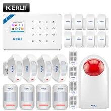 Kerui W18 ワイヤレスgsm wifi警報システムホームセキュリティ盗難警報キット有償センターパネルのandroid iphone ios appコントロール