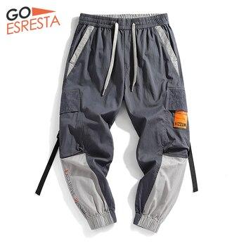 Goesresta Tide Brand Ribbon Cargo Pants Men Hip Hop Joggers Korean Streetwear Trousers Casual Harajuku Loose Track Pants Men goesresta 2020 tide brand men down jacket 90