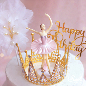 """Image 5 - Hook Flower """"Happy Birthday"""" Cake Toppers 3PC White Pink Ballet Girls Decor Wedding Party Supplies Baking Sweet Gifts"""