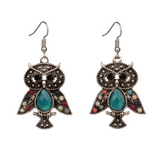 Cute Bohemian Earrings For Women Girls Vintage Colorful Resin Owl Drop Earings Fashion Jewelry 2019