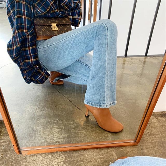 2019 Autumn Fashion Women High Waist Denim Jeans Straight Jeans Side Split Jeans Vintage Female Long Capri Pants 6