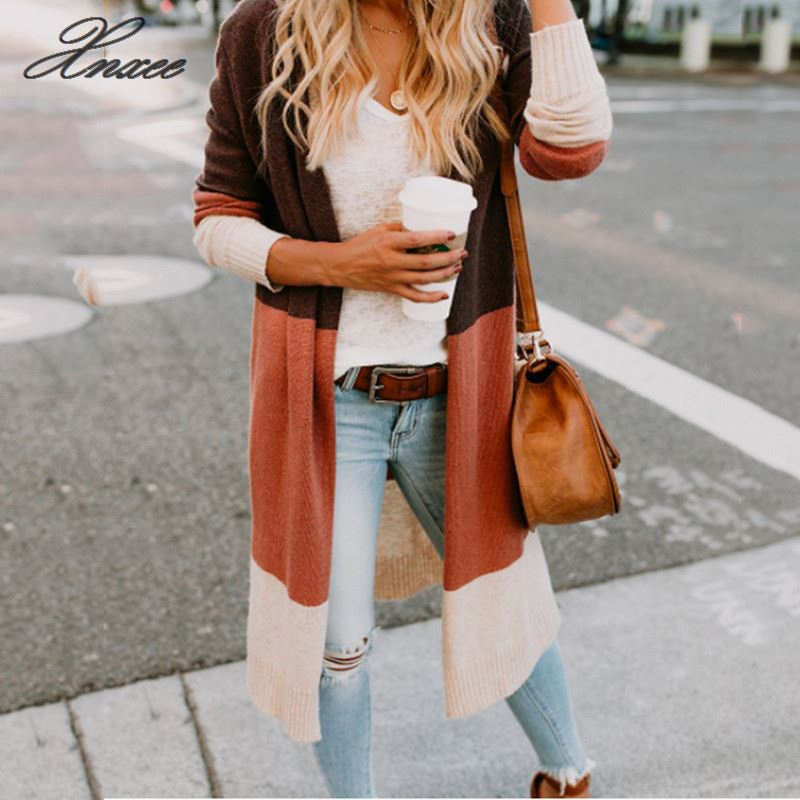 Xnxee Open Knitted Sweater Knit Cardigan Women Color Patchwork Long Pocket Coat Cardigans