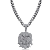 Lil Pump Pendant Necklace Iced Out Micro Pave Full CZ Men Hip Hop Gold Silver Color Jewelry With 10mm Cuban Chain Necklaces