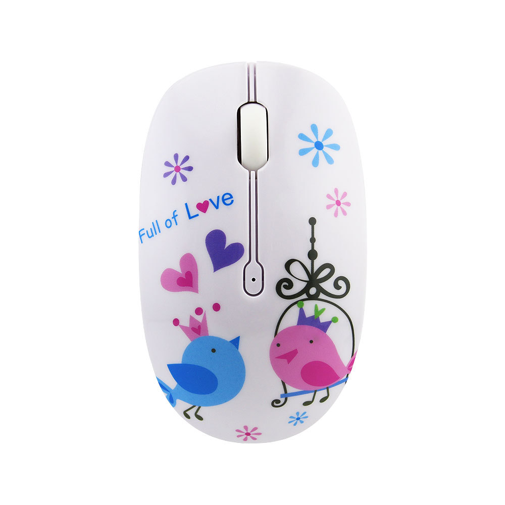 2.4G Wireless Mouse Fashion Flower Pattern Mouse Portable Mini Optical Mouse 1200DPI Pink Computer Gaming Mouse For Laptop Pc