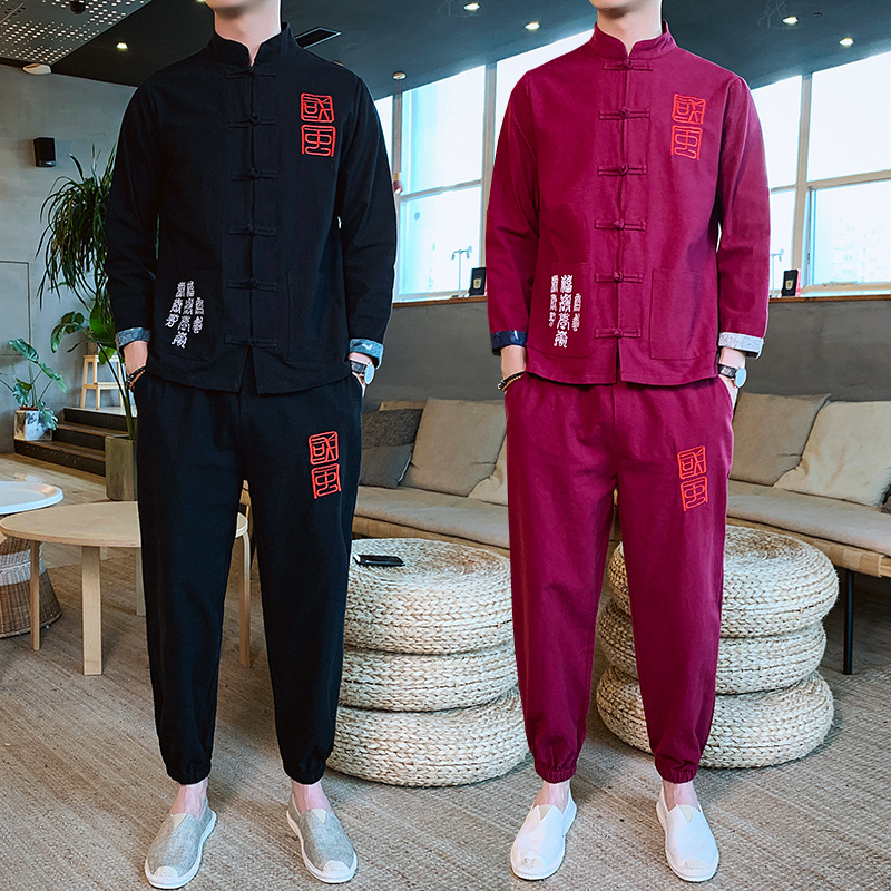 Heren Kleding 2020 Men Spring Man 2 Piece Set Sport Suit Jacket + Pant Male Tracksuit Asian Size Moda Hombre