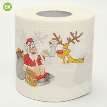 2019 Santa Claus Reindeer Print Christmas Toilet Paper Christmas Tree Decorations for Table New Year Home Decor Gifts Souvenirs цена
