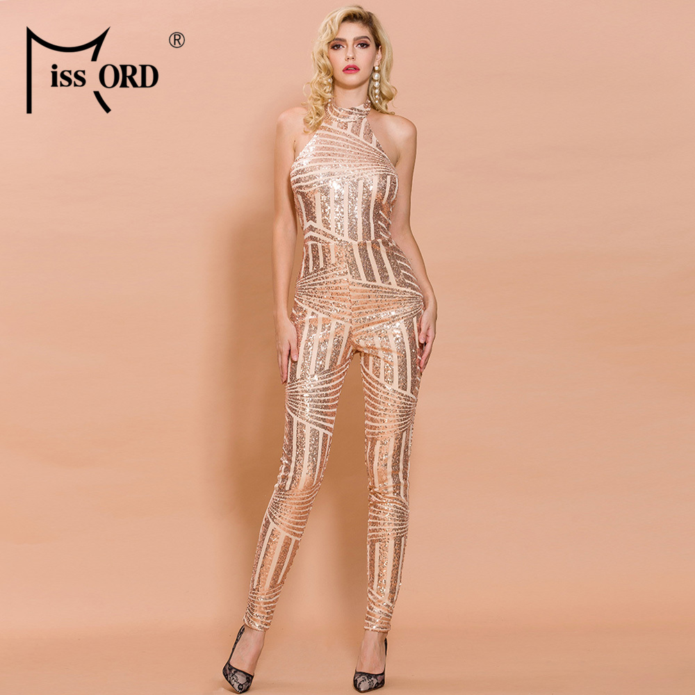 Missord 2018 Sexy  Women Sexy High Neck Off Shoulder Rompers Backless Sequin Elegant  Jumpsuit FT18815-1