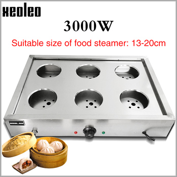 цена на XEOLEO Steamed buns machine Steaming Furnace Electric Steam Boiler Countertop Six-hole Stainless Steel Steaming machine 3000W