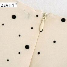 Zevity women cross v neck polka dot vestido print bow tie sashes mini dress chic female pleats puff sleeve casual dresses DS4393