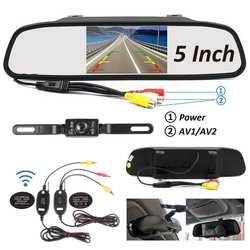 2,4 ГГц 5 дюймов ЖК-монитор зеркало Беспроводная Автомобильная камера заднего вида IP67 водонепроницаемая автомобильная камера заднего вида П...