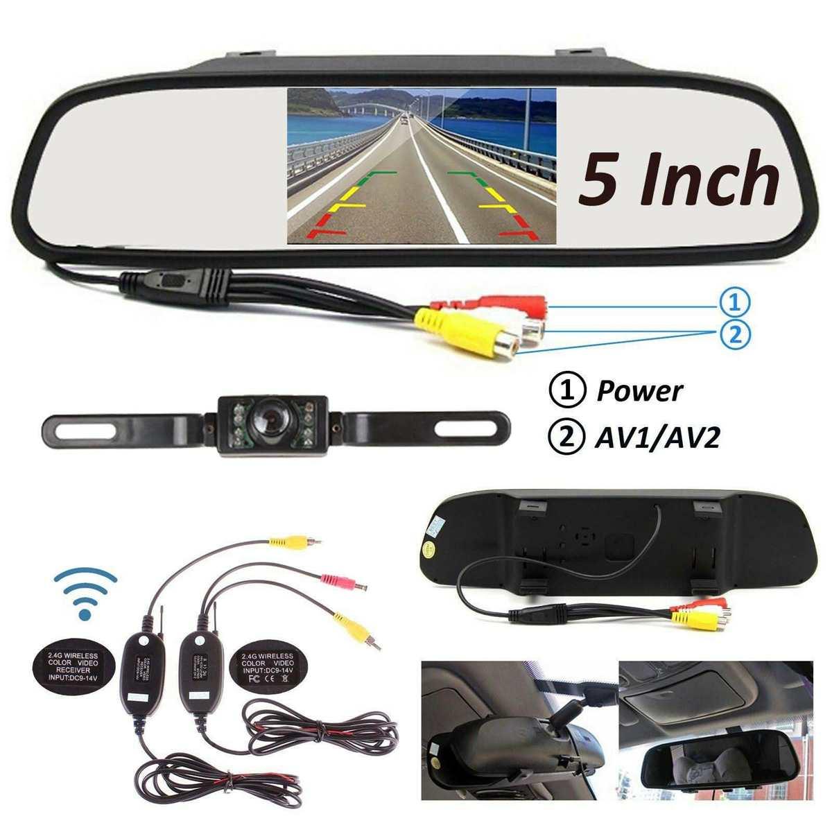 2,4 ГГц 5 дюймов ЖК монитор зеркало Беспроводная Автомобильная камера заднего вида IP67 водонепроницаемая автомобильная камера заднего вида Парковка Обратный комплект