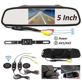 diysecur wireless 4 3 inch car reversing camera kit back up car monitor lcd display hd car rear view camera parking system 2.4Ghz 5 Inch LCD Monitor Mirror Wireless Car Rear View Backup Camera IP67 Waterproof Car Reverse Camera Parking Reverse Kit