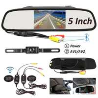 2.4Ghz 5 Inch LCD Monitor Mirror Wireless Car Rear View Backup Camera IP67 Waterproof Car Reverse Camera Parking Reverse Kit