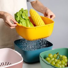 Home Kitchen Double Layer Washing Basin Basket Wash Fruit Useful Product li shui lan Fruit Disk Fruits and Green Vegetables Bask(China)