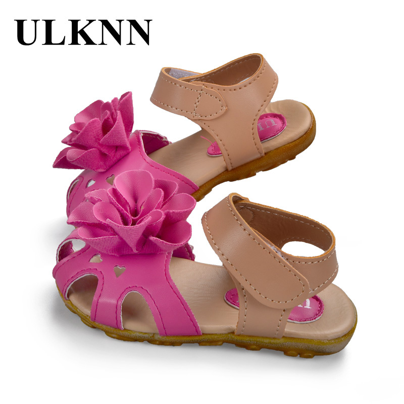 ULKNN Children/girl/kid Fashion Princess Flat Flower Shoecasual Sandals Flowerantislipleather Sandal