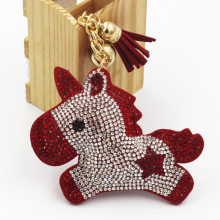 Fashion Charm Crystal Rhinestone Leather Horse Pendant Keychain Alloy Bag Key Ring Holder For Women Gift Souvenir Jewelry(China)
