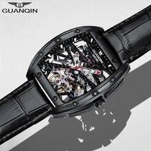 GUANQIN מכאני שעונים שלד Mens שעונים אוטומטי מכאני עמיד למים מלבן שעון עור часы мужские