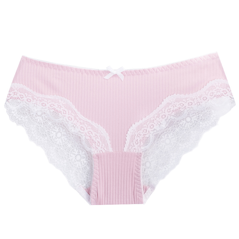 Linbaiway Breathable Underwear Women Solid Cotton Panties Comfort Underwear Lace Briefs Sexy Ladies Thin Lingerie Female Panty