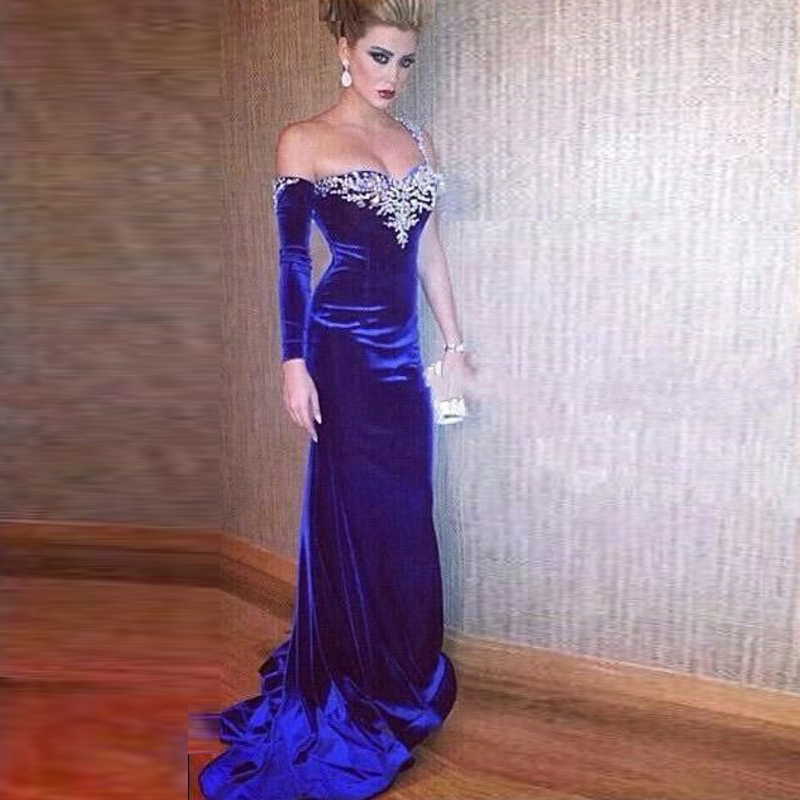 Royal Blue Evening Gown With Crystal Sweetheart Long Sleeves Velvet Sexy Vestido De Festa Mermaid Mother Of The Bride Dresses