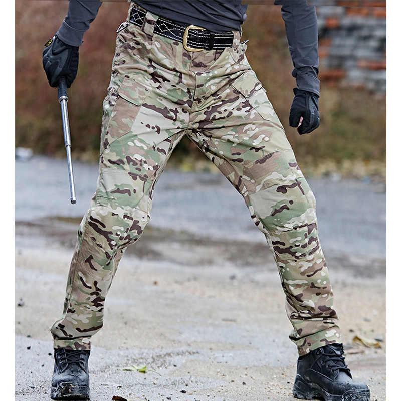Pantalones Cargo de camuflaje para hombre, pantalones militares de bolsillo múltiple elásticos para hombre, pantalones para correr al aire libre, pantalones tácticos de talla grande para hombre