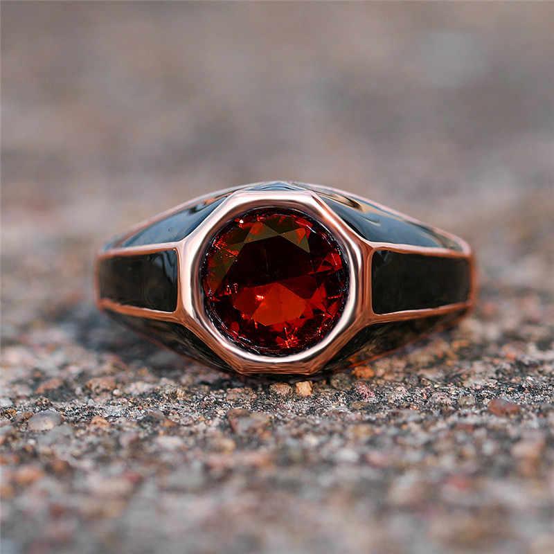 Vintage หญิงสีเขียว Red Zircon แหวนนิ้ว Creative Rose Gold สีงานแต่งงานแหวนสัญญาหมั้นแหวน