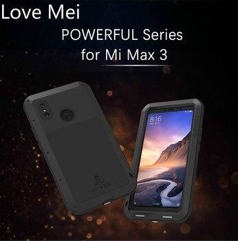 Перейти на Алиэкспресс и купить Мощный металлический защитный чехол Love Mei для Xiaomi mi Max 3 влагостойкий и ударопрочный, прорезиненный защитный чехол для всего тела для Xiao mi Max 3