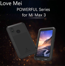 Love Mei Powerful Metal Armor Case For Xiaomi Mi Max 3 Waterproof Shockproof Rugged Full Body Protective Cover For Xiaomi Max 3