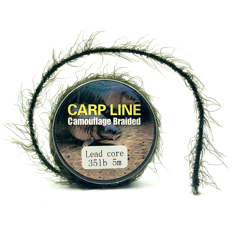 5m Carp Leadcore Fishing Uncoated Braid Hooklink Lead Core Leader Camo Weed Effect Leadcore For Chod Hair Rigs Fishing Tackle