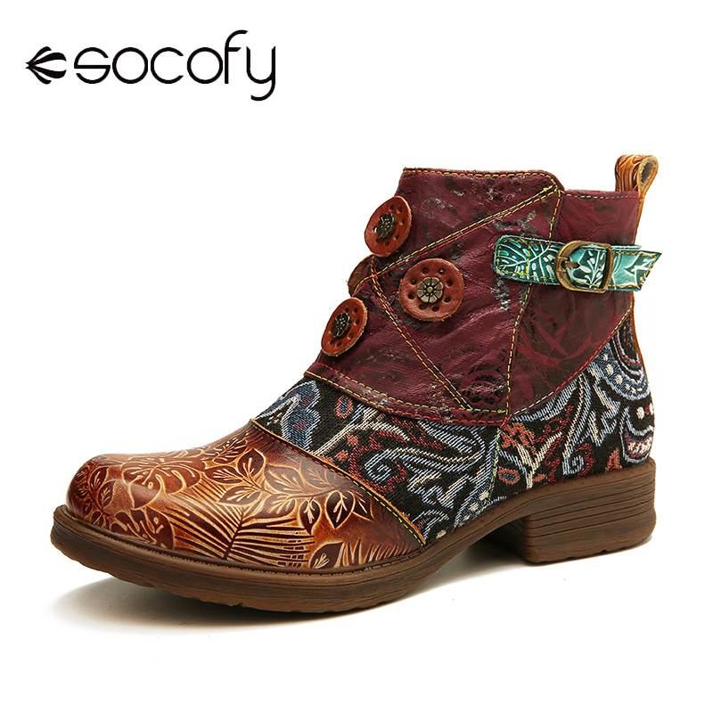 SOCOFY Retro Buckle Genuine Leather Splicing Folkways Pattern Flat Soft Short Boots Elegant Shoes Women Shoes Botas Mujer 2020